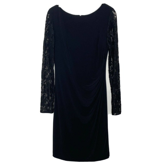 Eliza J Lace Sleeves Ruched Knee Length Dress